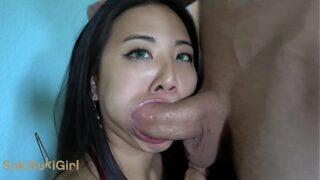 WMAF asian doll gets THROATFUCK and CREAMPIE @sukisukigirl green eyes POV